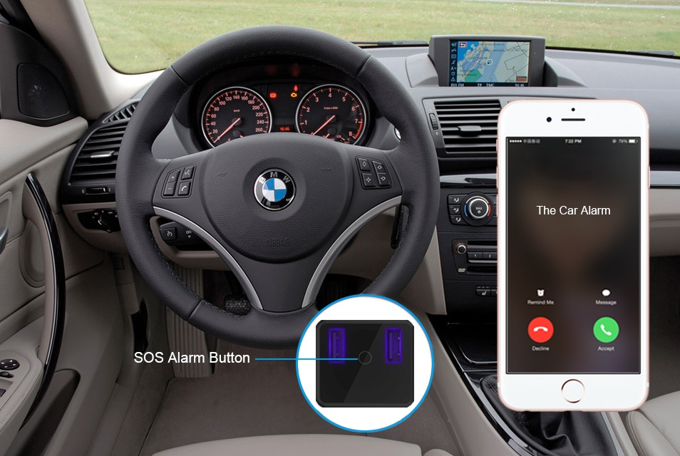 SOS emergency call gps tracker in car charger