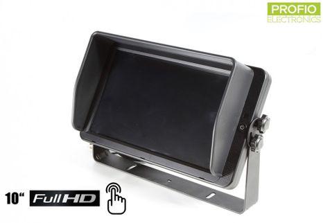 """FULL HD cúvací monitor s 10,1"""" dotykovým LCD displejom pre 4 FULL HD kamery"""
