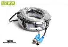 10 m Kvalitný 4 pin odtienený kábel k cúvacej kamere