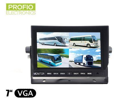 """LCD monitor 7"""" s redukciou 4pin-cinch a pripojením až 4 cúvacích kamier"""