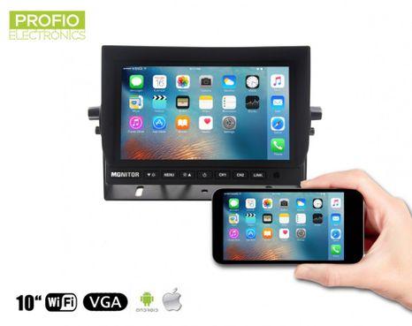 """Mirror link WiFi LCD 10,1"""" monitor - prepojenie cez mobil alebo tablet + pripojenie 2 cúvacích kamier"""