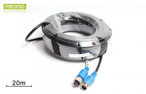 20 m predlžovací vodeodolný 4 pin kábel pre cúvacie kamery